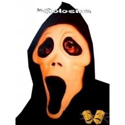 Careta Scream fosforescente con capucha negra