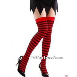 Medias rojas con rayas negras
