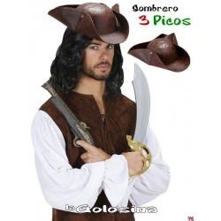 Sombrero 3 picos pirata-bucanero.