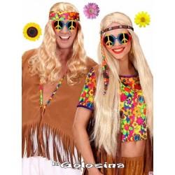 Gafas hippie con el simbolo de la paz multicolor.