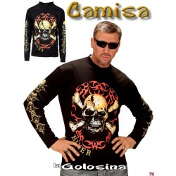 Camiseta Motociclista calavera (Rock).