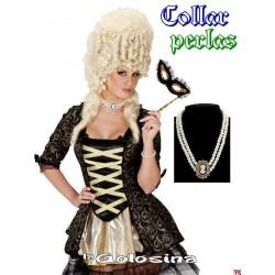 Collar 2 vueltas perlas con camafeo central