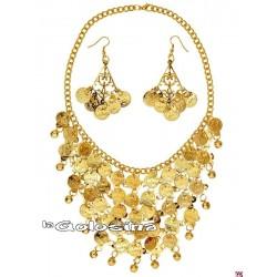 Collar y pendientes con monedas doradas