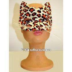 Antifaz de leopardo con bigotes