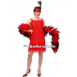 Disfraz Ad. Charleston rojo lentejuelas.