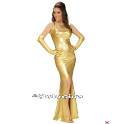 Disfraz Ad. Vestido fiesta GLAMOUR dorado