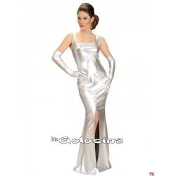 Disfraz Ad. Vestido fiesta GLAMOUR plateado