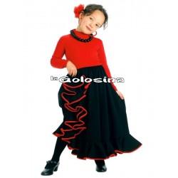Falda Inf. Nina Negro borde rojo