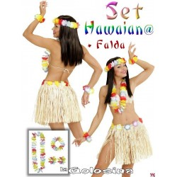 Set Hawaiano color paja