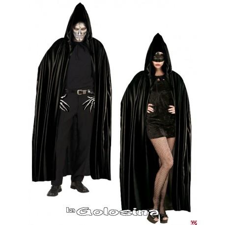 Capa negra con capucha de 142 cm
