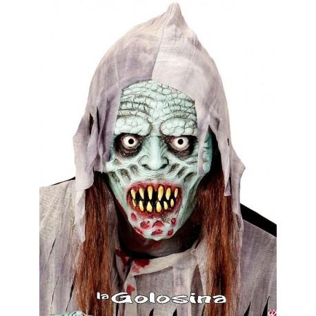 Media mascara con capucha zombie con pelo