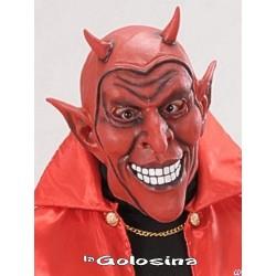 Careta Diablo rojo sonriente con cuernos