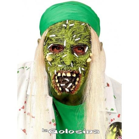 Media mascara con cabello zombie toxico