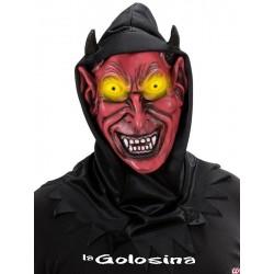 Careta Con capucha negra diablo rojo
