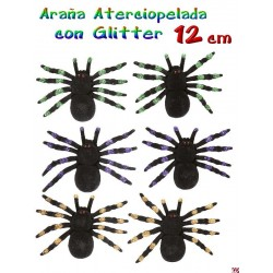 Arana aterciopelada con glitter 12 cm Pack 2 U