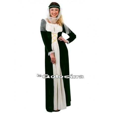 Disfraz Ad. Medieval chica verde.