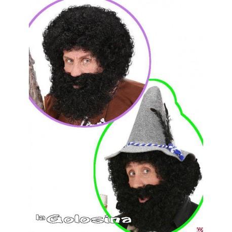 Peluca con barba rizada