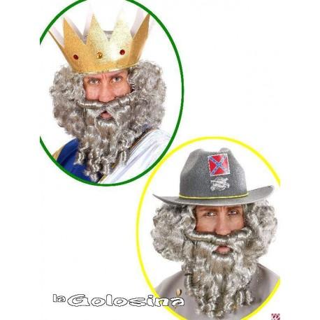 Peluca y barba rizada con tirabuzones