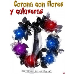 Corona flores con calaveras con luz 45 cm