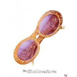 Gafas Oval purpurina doradas