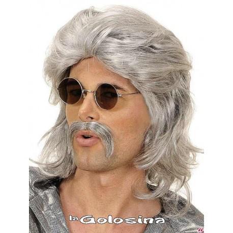 Peluca con melena y bigote.
