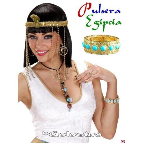 Pulsera Egipcia dorada con piedras turquesas
