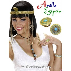 Anillo Egipcio dorado con piedras color turquesa