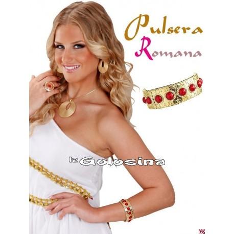 Pulsera Romana dorada con piedras rojas