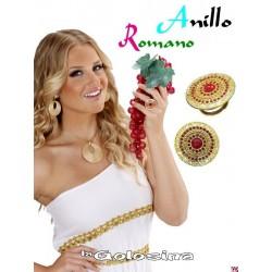Anillo Romano dorado con piedras color rojas