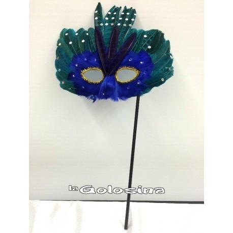 Antifaz plumas con palo verde y azul