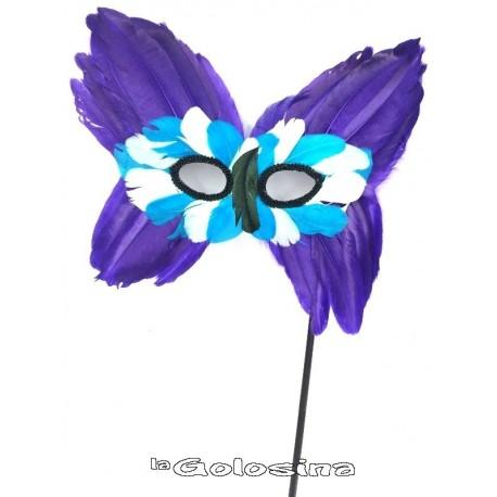 Antifaz plumas forma mariposa morado