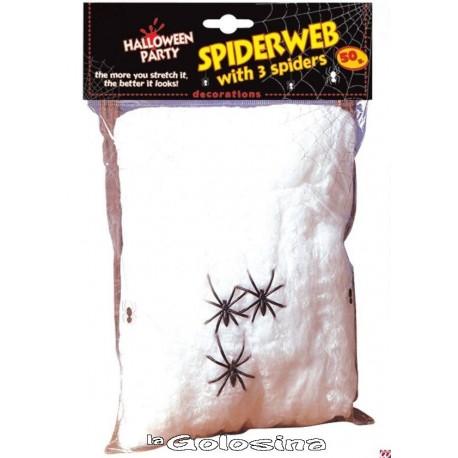 Tela de arana con aranas de plastico