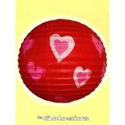 Bola farolillo roja con corazones