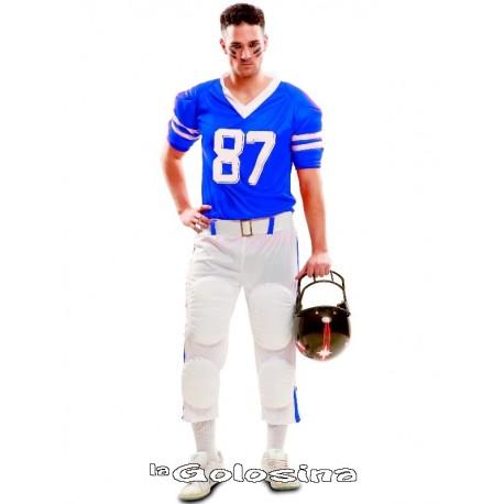 Disfraz Ad. Jugador rugby azul.