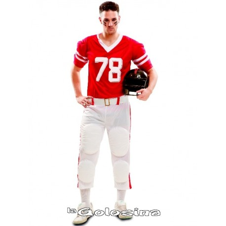 Disfraz Ad. Jugador rugby roja.
