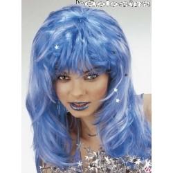 Peluca azul lisa melena con estrellas