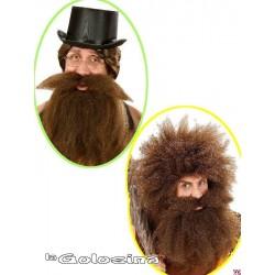 Barba lisa con bigote ancho en color castano