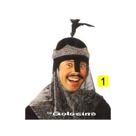 Somb. Yelmo de soldado medieval negro con tela gris