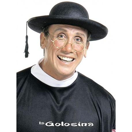 Sombrero cura con ala y borla colgante
