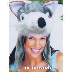 Sombrero Casco Perro gris blanco
