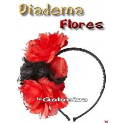 Diadema 3 rosas rojas-negras con purpurina