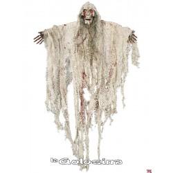 Colgante tela blanca con calavera 75 cm.