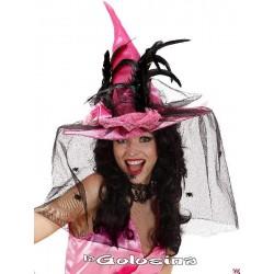 Sombrero bruja fucsia con redecilla con arañas