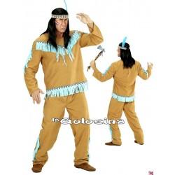 Disfraz Ad. Indio marron - turquesa