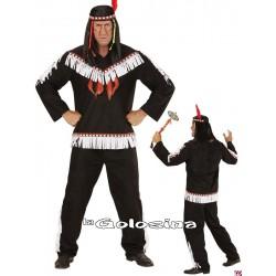 Disfraz Ad. Indio negro - blanco