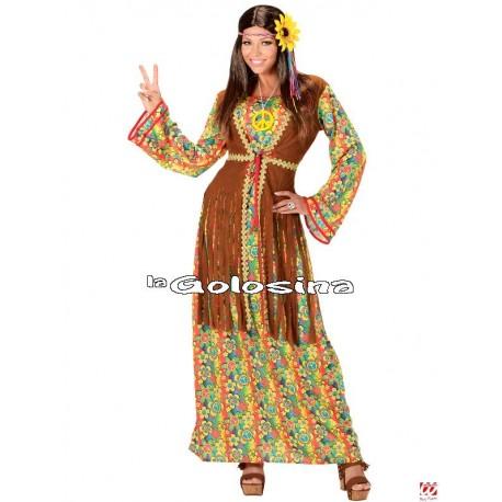 Disfraz Ad. Hippie falda multicolor