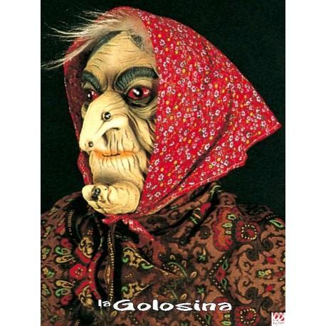 Careta: Vieja con pelo gris y pañuelo rojo