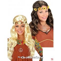 Peluca Hippie / Medieval con cinta flores