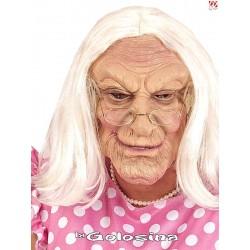 Mascara Abuela con peluca.