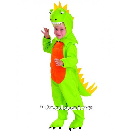 Disfraz Niño: Dinosaurio verde.